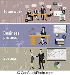 Business banner, Three themes - teamwork, business team, success.