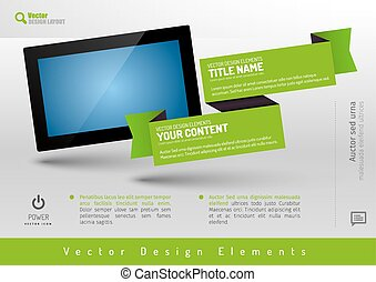 Business banner with modern display. Vector design elements for presentations, flyers, brochures, websites.