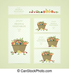 Business banners with fruits and vegetables in basket