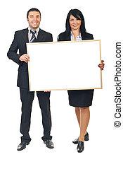 business, bannière, deux, tenue, gens