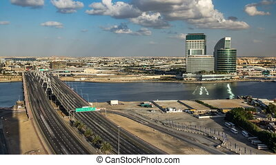 Business bay crossing bridge timelapse, 13-lane-bridge, over...