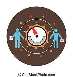 Business benchmarking concept, benchmark measure. Pictograms of men and scale the arrow. Vector illustration.