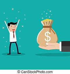 Business big hand giving money to businessman