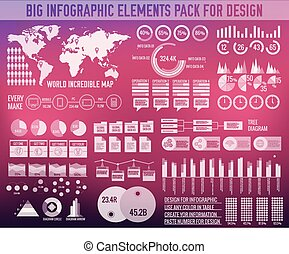 Business big infographic elements chart set on blurred background. Colorful modern template for you design, web and mobile applications. Vector illustration