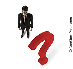 Business big question - Businessman with a big red question...