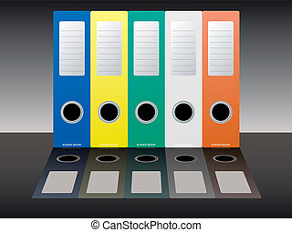 business binder shadow - Collection of five multi colored...