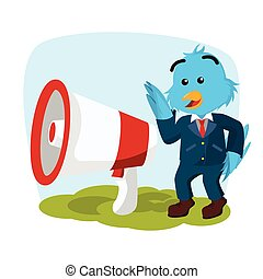business bird with giant megaphone