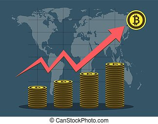 Business Bitcoin concept growth chart on background map world. vector Illustrator