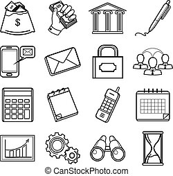 Business black icon set