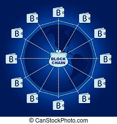 Business block chain illustration. - Interconnected...