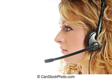 business blonde woman with headset - young beautiful ...