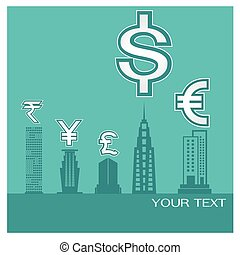 Business blue background money building Dollar European Euro Japanese Yen Pounds Indian rupee