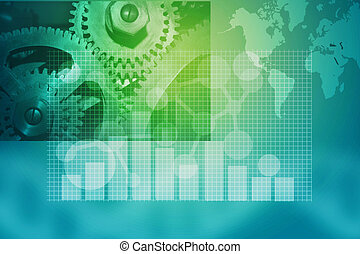 business blue background with gears