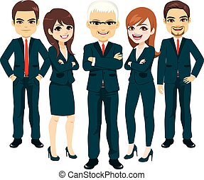 Business Blue Suit Team