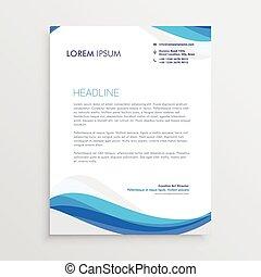 business blue wave style letterhead template