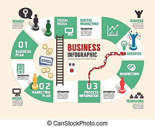 Business board game concept infographic step to successful, ...