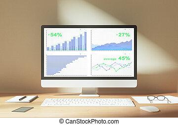 business, bois, écran, diagramme, informatique, bureau