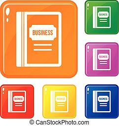 Business book icons set vector color