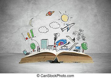 Business book - Book with modern business sketch and symbol