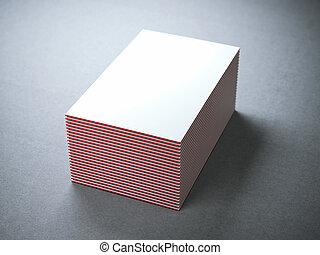 business, bords, cartes, blanc, pile, rouges