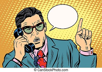 Business boss talking on the phone, Retro background