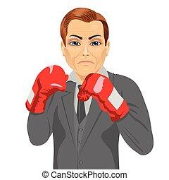 business, boxe, baston, gants, prêt, homme