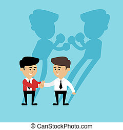 Business competition concept with people handshake and boxing shadow scene vector illustration