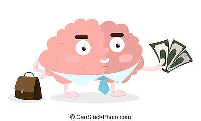 Business brain with money.