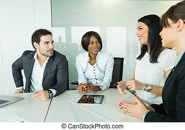 Business brainstorming and exchange of ideas by nicely dressed people