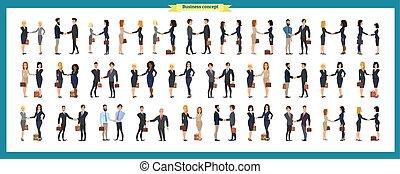 business, bras, travail, hommes affaires, gens, ensemble, vecteur, plat, accord, poignée main, handshake., teamwork., style., présentation, femmes, illustration, situations., crossed., debout