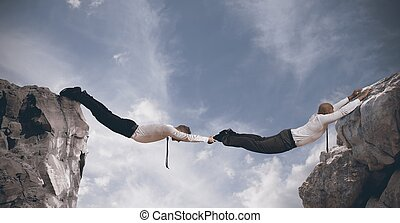 Concept of partnership with businesspeople like a bridge