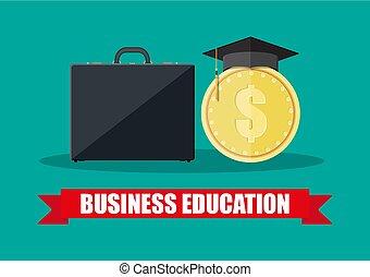 Business briefcase, graduation cap, gold coin