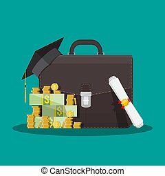 Business briefcase, graduation cap, money, diploma