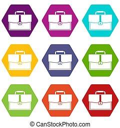Business briefcase icon set color hexahedron