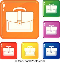 Business briefcase icons set vector color