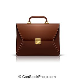 business Briefcase realistic icon, isolated on white. Vector...