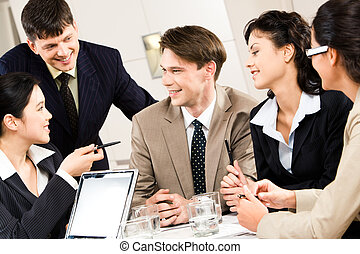 Business briefing - Portrait of five business people...