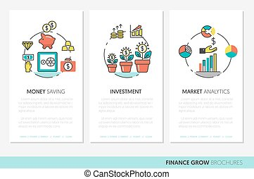 Business Brochure Template with Finance Investment Linear Thin Vector Icons