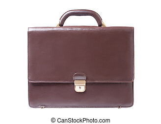 business brown briefcase on a white background