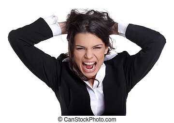 Business brunette girl expressing emotions