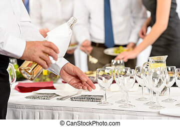 Business buffet lunch caterer serve wine appetizer company ...
