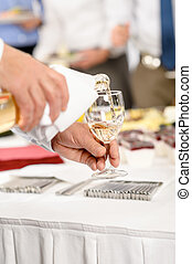 Business buffet lunch caterer serve wine appetizer