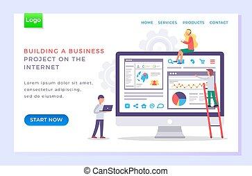 Business Building Project Online Website Vector