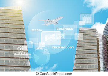 Business buildings with graphs
