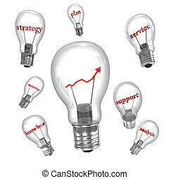 Business Bulbs - Business bulbs with red text and chart on...