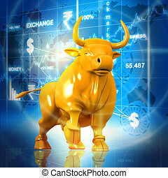 Business bull in abstract background