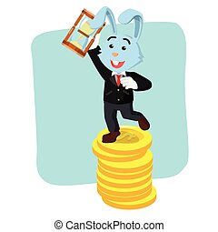 business bunny on coins holding hourglass