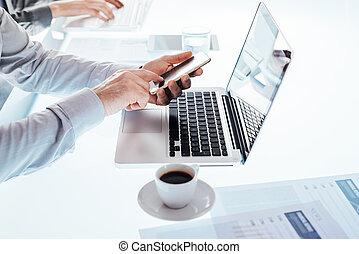 business, bureau, bureau, fonctionnement, équipe