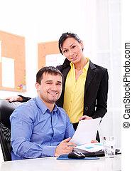 business, bureau fonctionnant, gens