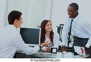 business, bureau., portrait équipe, réunion, avoir, heureux